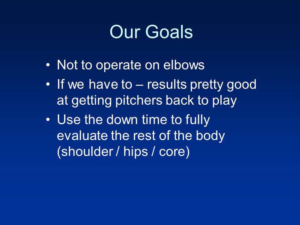 Our Goals Not to operate on elbows
