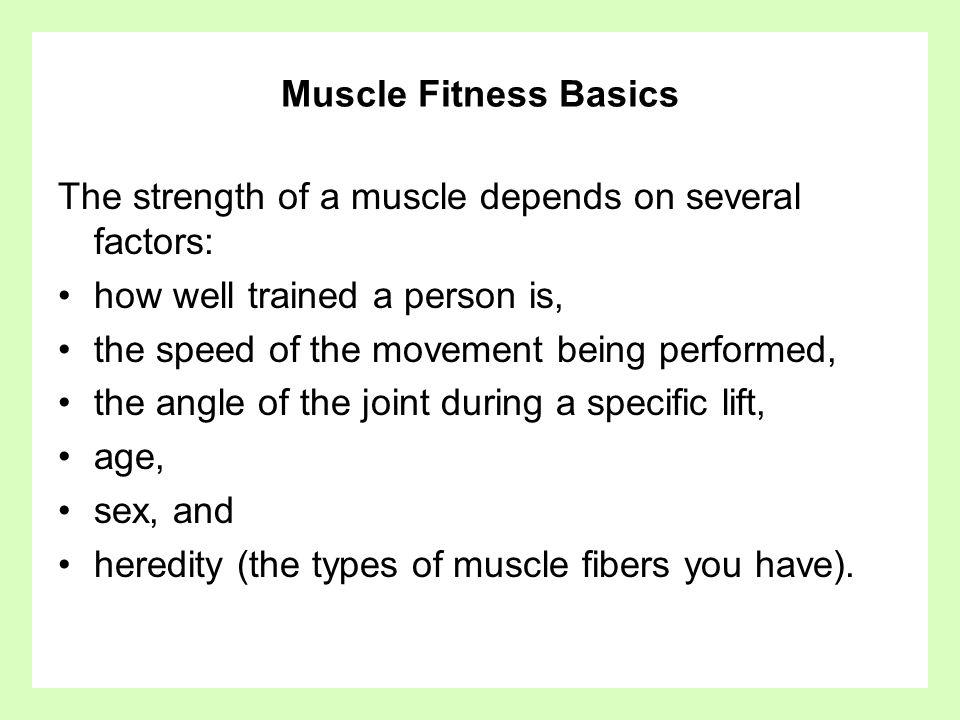 Muscle Fitness Basics The strength of a muscle depends on several factors: how well trained a person is,