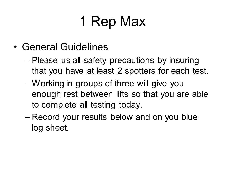 1 Rep Max General Guidelines