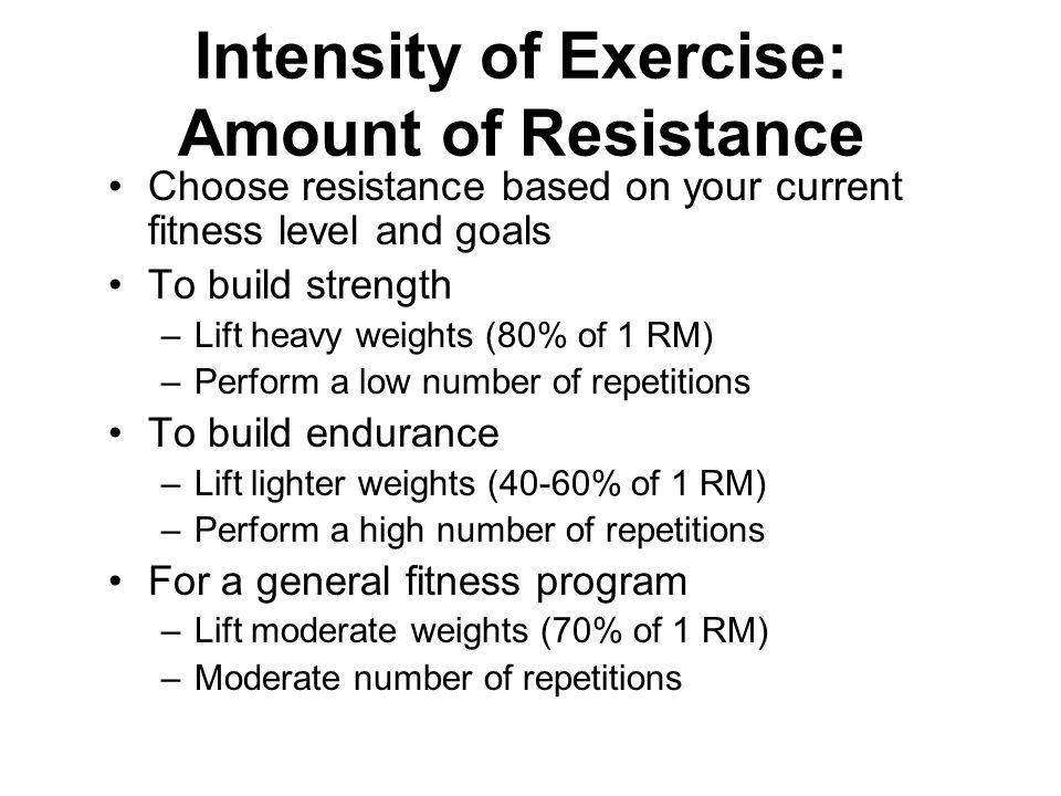 Intensity of Exercise: Amount of Resistance