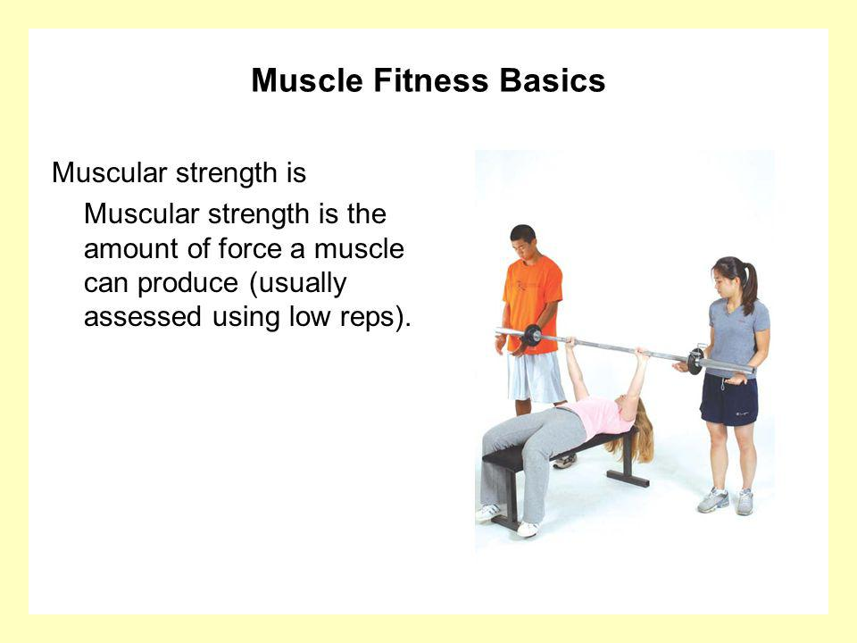 Muscle Fitness Basics Muscular strength is