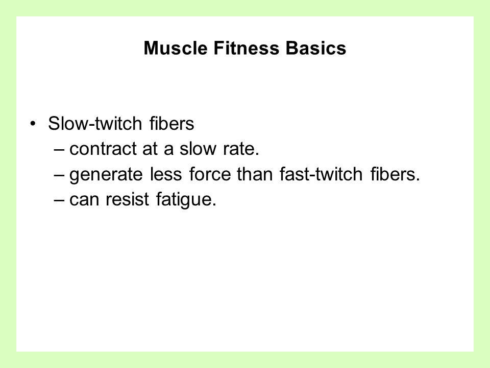 Muscle Fitness Basics Slow-twitch fibers. contract at a slow rate. generate less force than fast-twitch fibers.