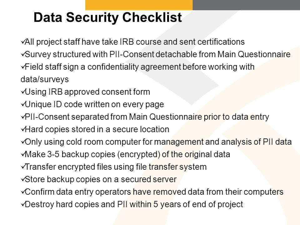 Data Security Checklist