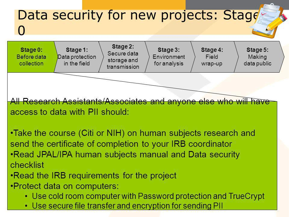 Data security for new projects: Stage 0