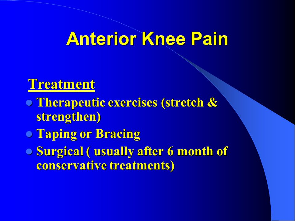 Anterior Knee Pain Therapeutic exercises (stretch & strengthen)