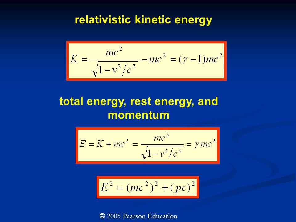 relativistic kinetic energy total energy, rest energy, and momentum