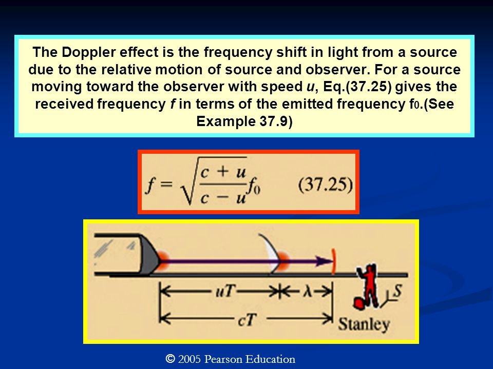 The Doppler effect is the frequency shift in light from a source due to the relative motion of source and observer. For a source moving toward the observer with speed u, Eq.(37.25) gives the received frequency f in terms of the emitted frequency f0.(See Example 37.9)