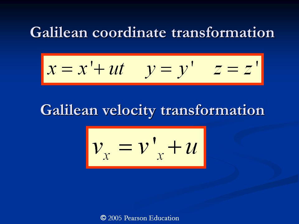 Galilean coordinate transformation