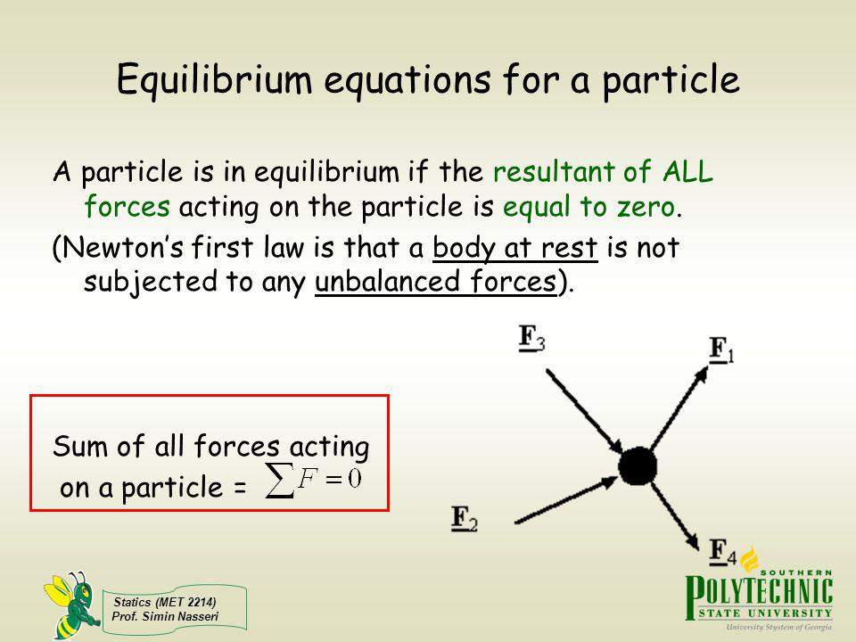 Equilibrium equations for a particle