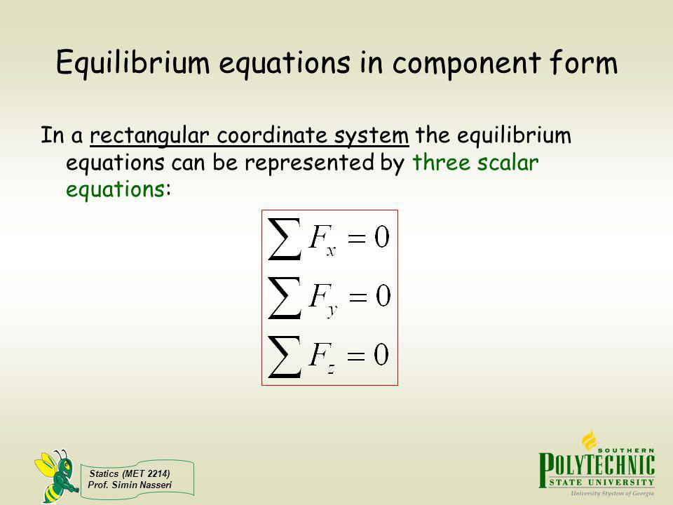 Equilibrium equations in component form