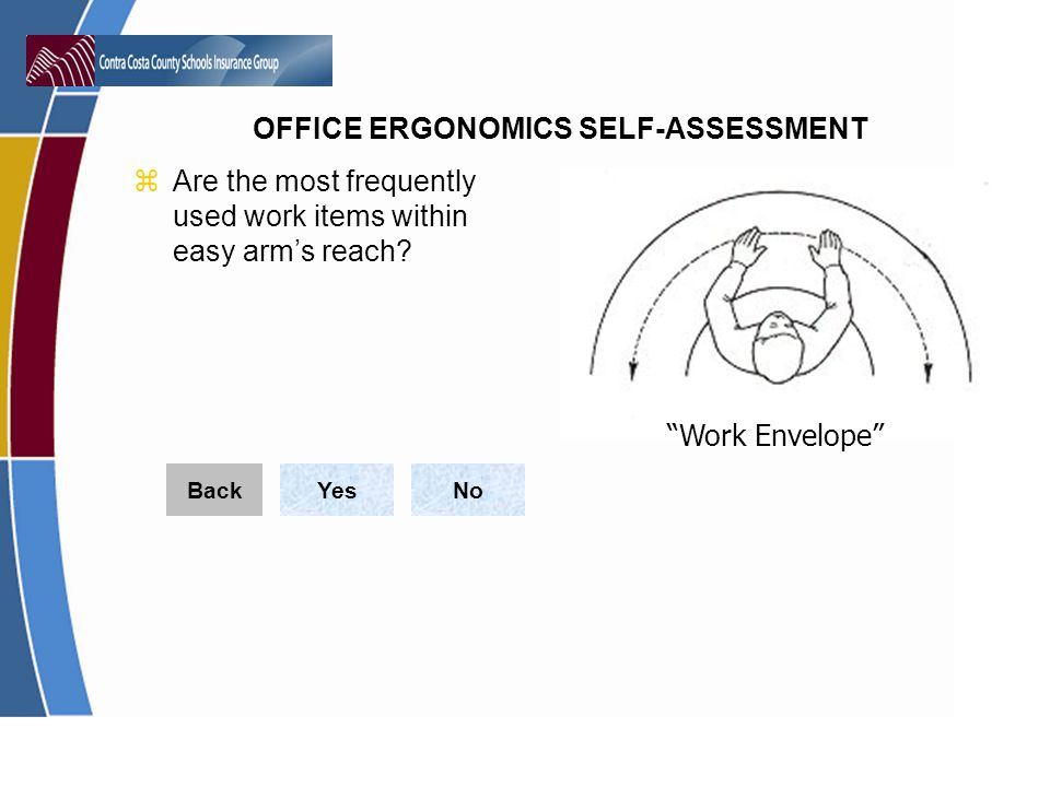 Are the most frequently used work items within easy arm's reach