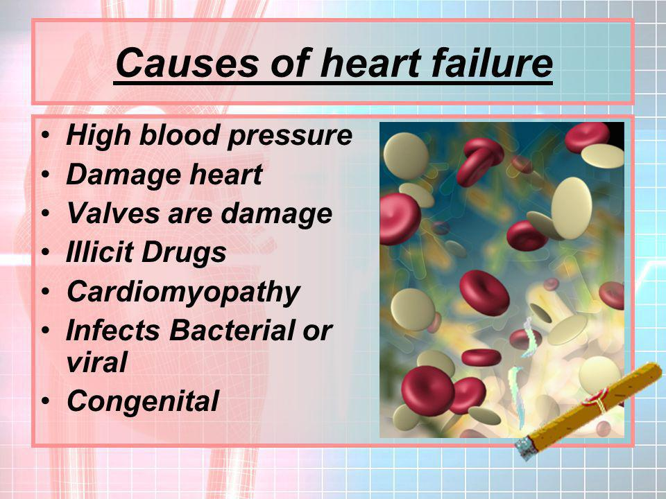 causes and effects of heart failure Congenital defects, bacterial and viral infections, long-term use of anabolic steroids, and age are common causes of heart disease in horses  heart failure,.