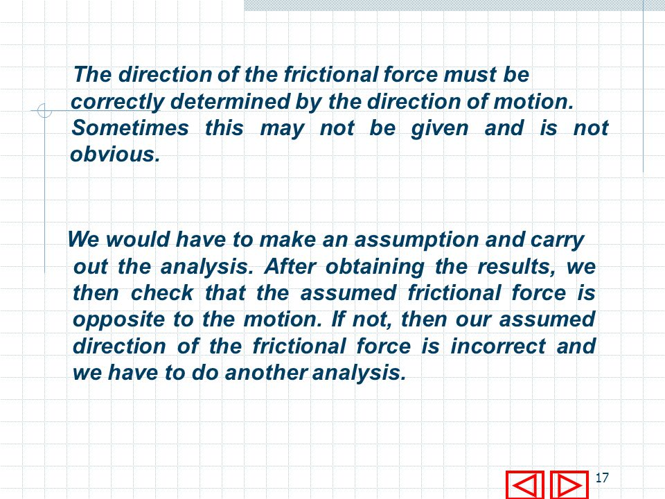 The direction of the frictional force must be