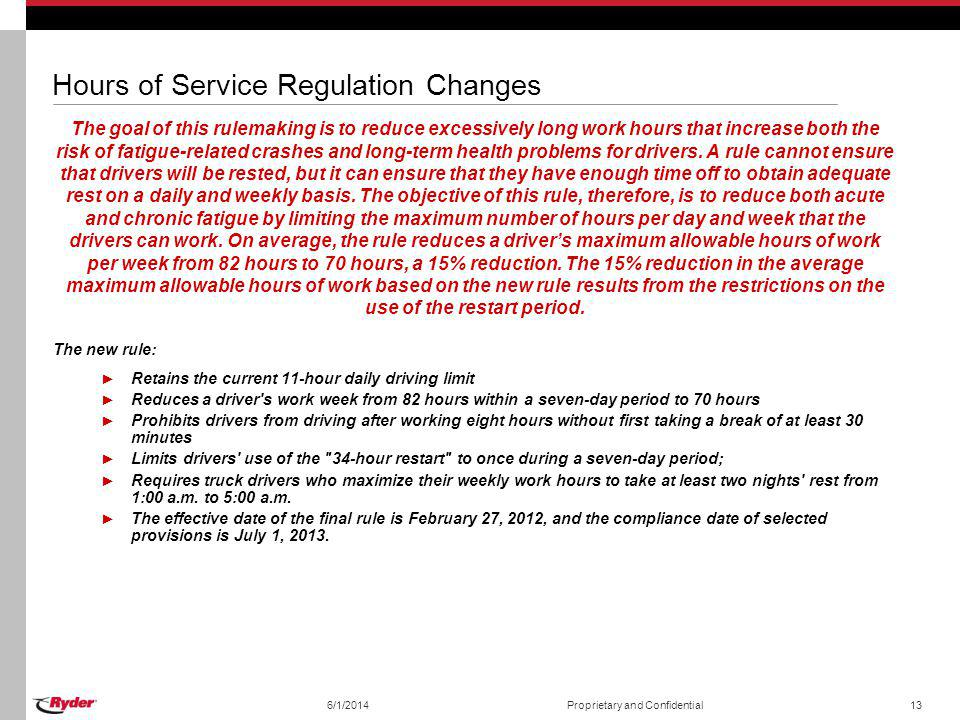 Hours of Service Regulation Changes