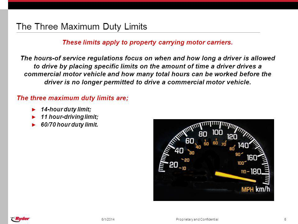 The Three Maximum Duty Limits