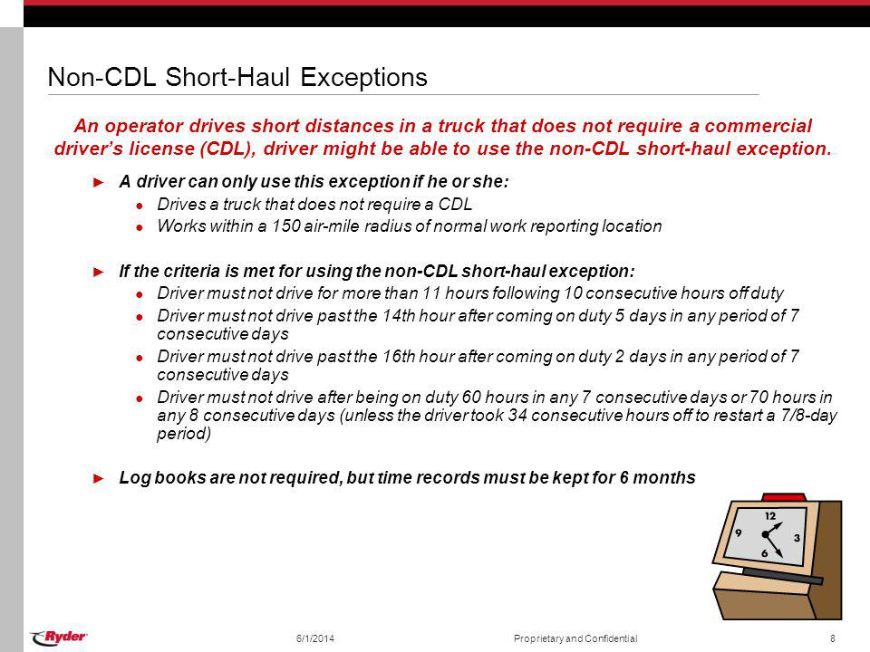 Non-CDL Short-Haul Exceptions