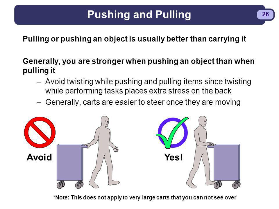 Pushing and Pulling Avoid Yes!
