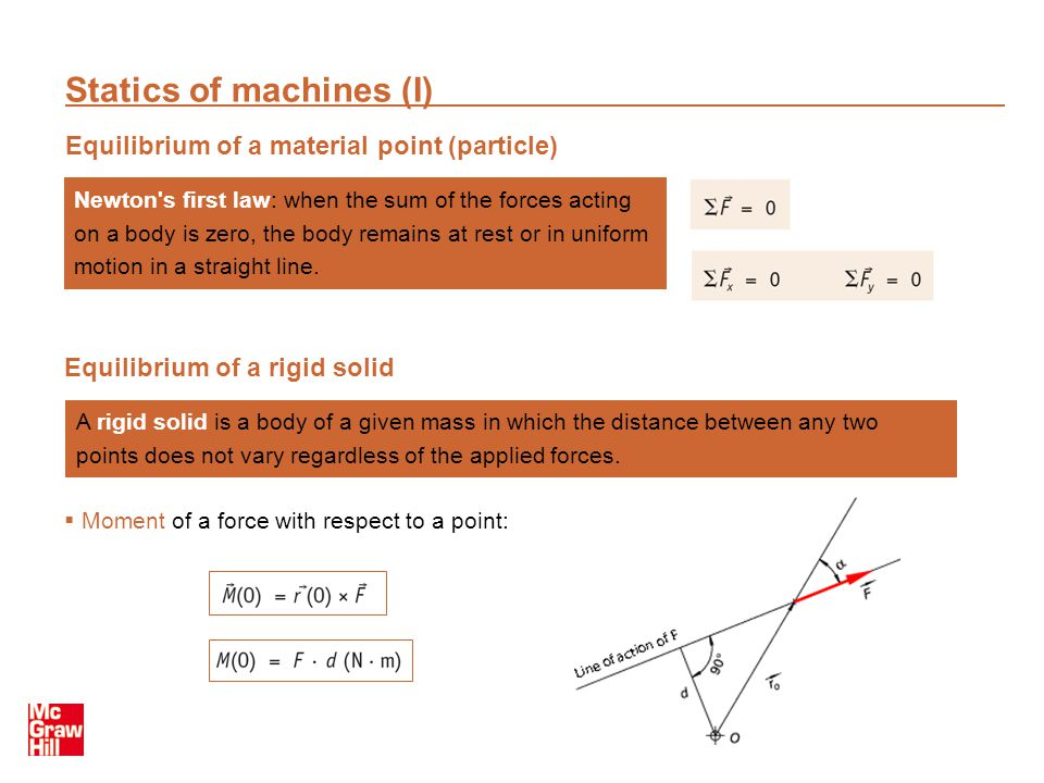 Statics of machines (I)