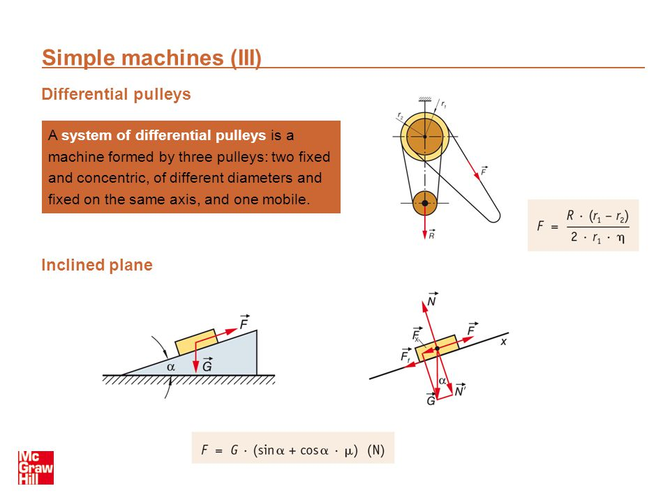 Simple machines (III) Differential pulleys Inclined plane