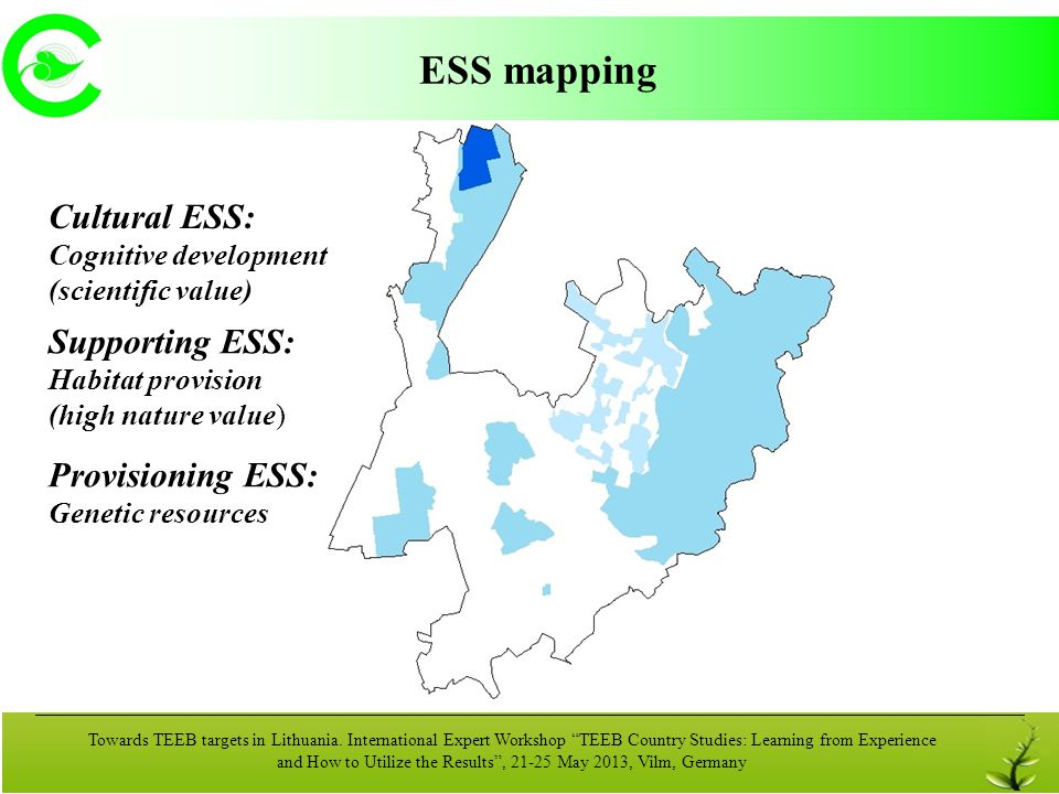 ESS mapping Cultural ESS: Supporting ESS: Provisioning ESS: