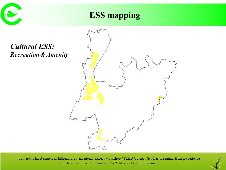 ESS mapping Cultural ESS: Recreation & Amenity