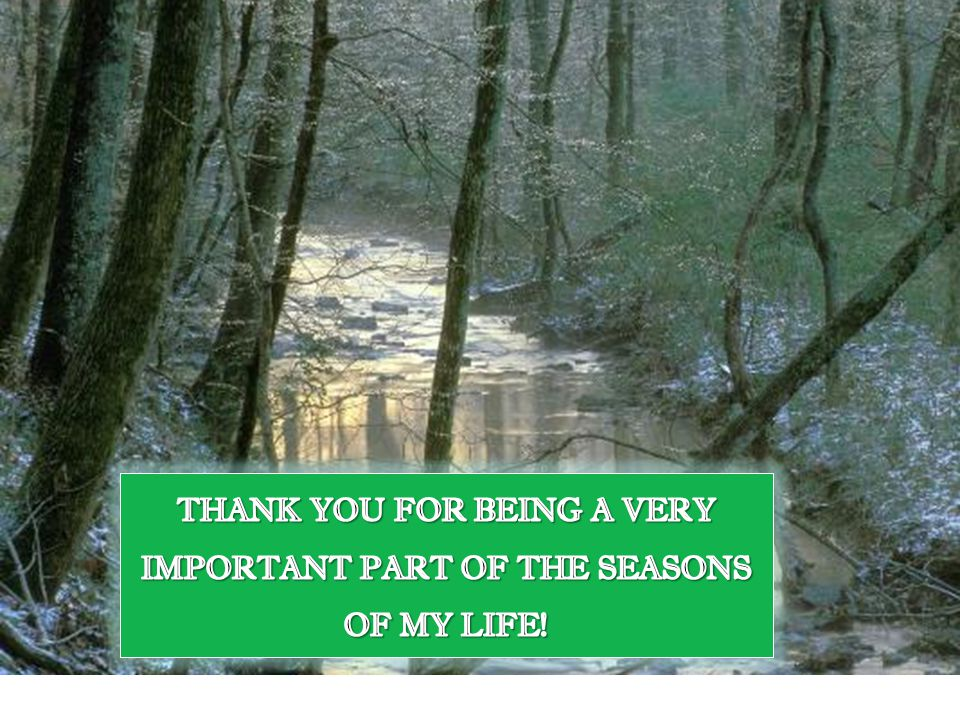 THANK YOU FOR BEING A VERY IMPORTANT PART OF THE SEASONS OF MY LIFE!