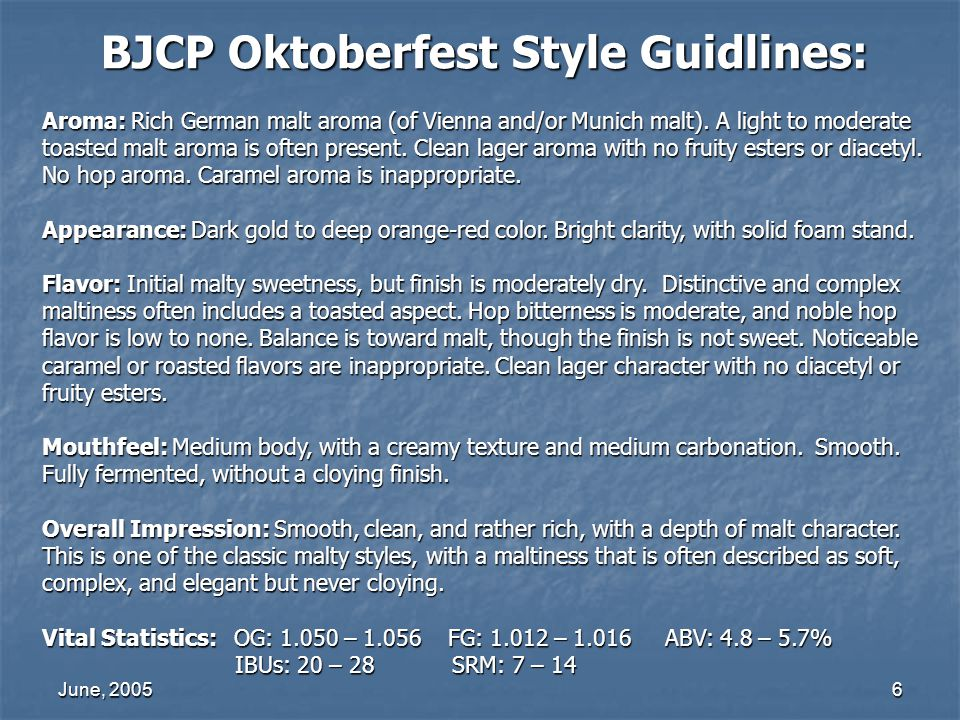 BJCP Oktoberfest Style Guidlines: