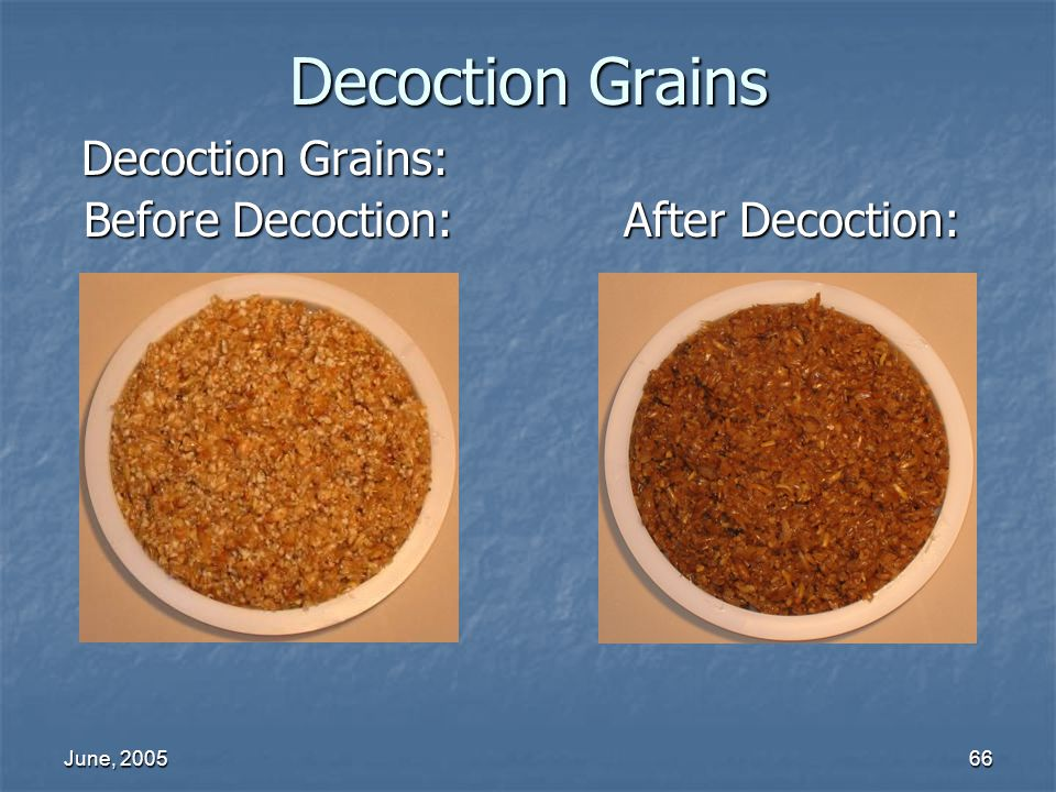 Decoction Grains Decoction Grains: Before Decoction: After Decoction:
