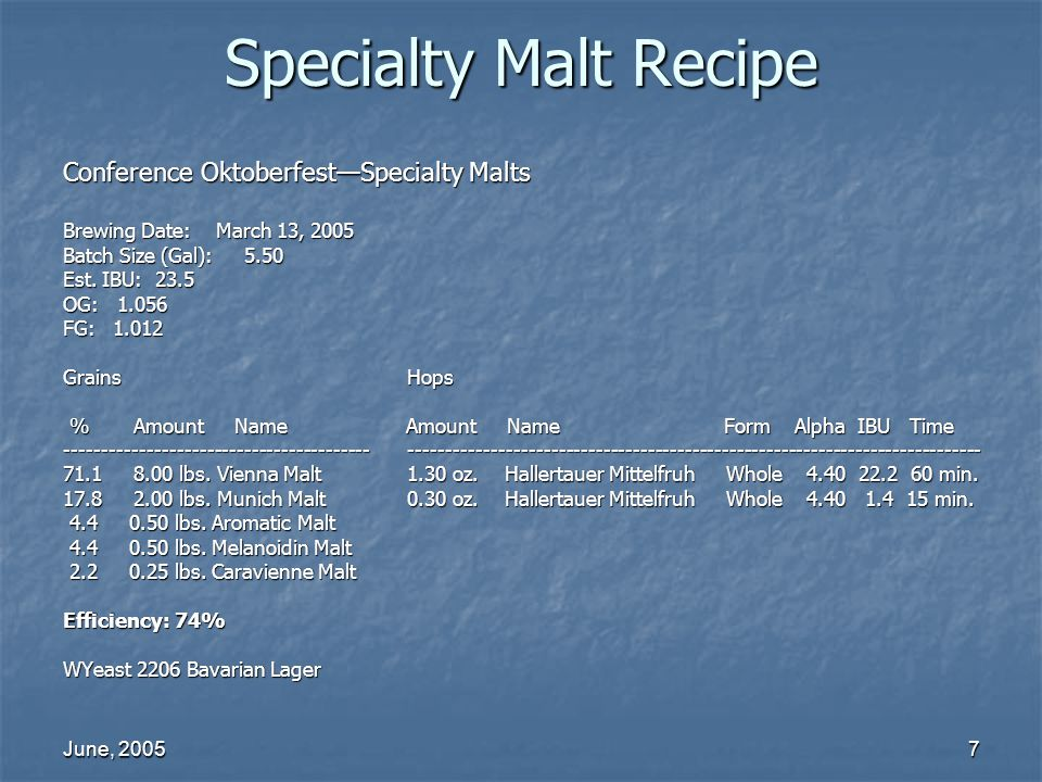 Specialty Malt Recipe Conference Oktoberfest—Specialty Malts