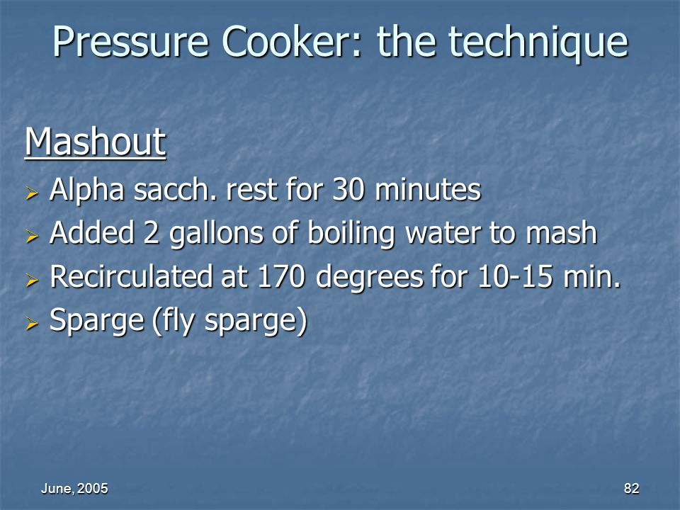 Pressure Cooker: the technique