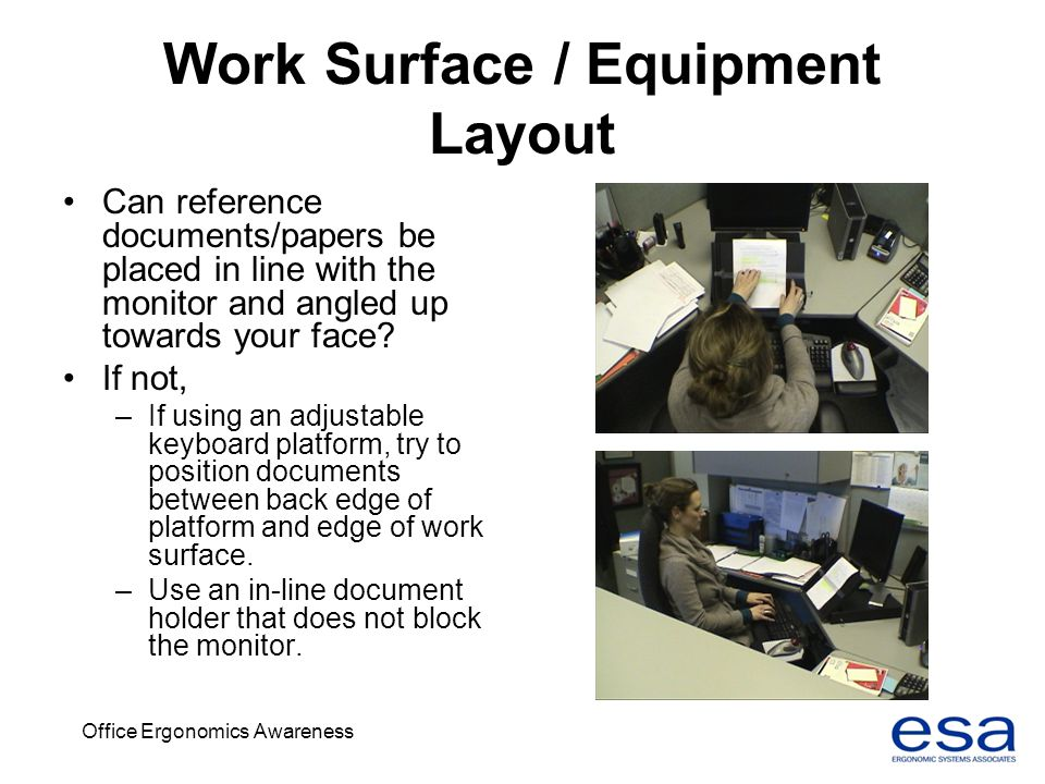 Work Surface / Equipment Layout