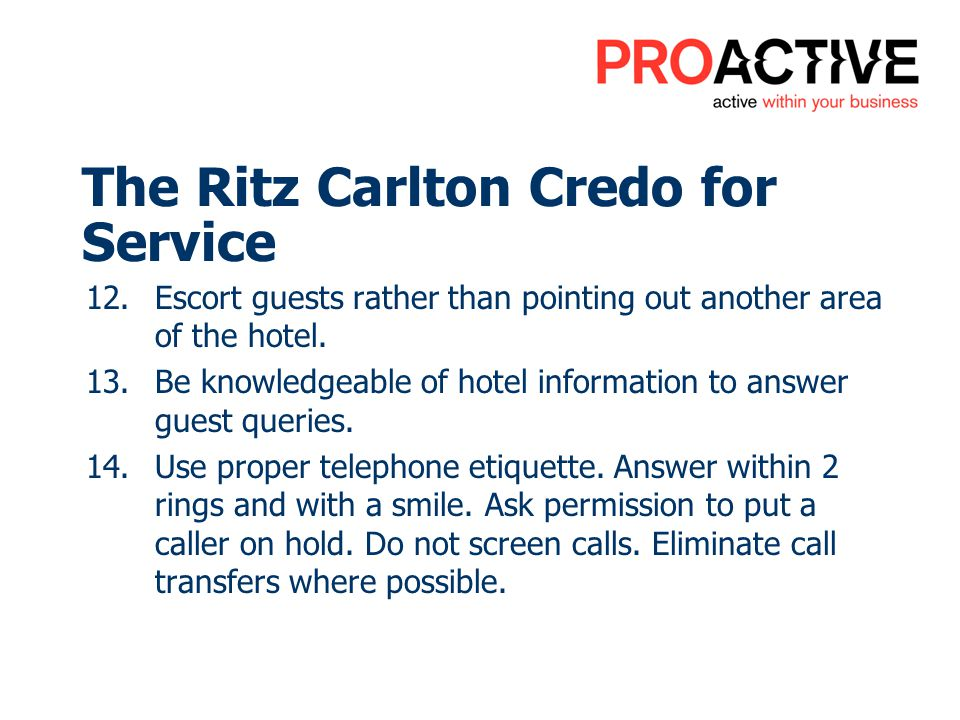 The Ritz Carlton Credo for Service