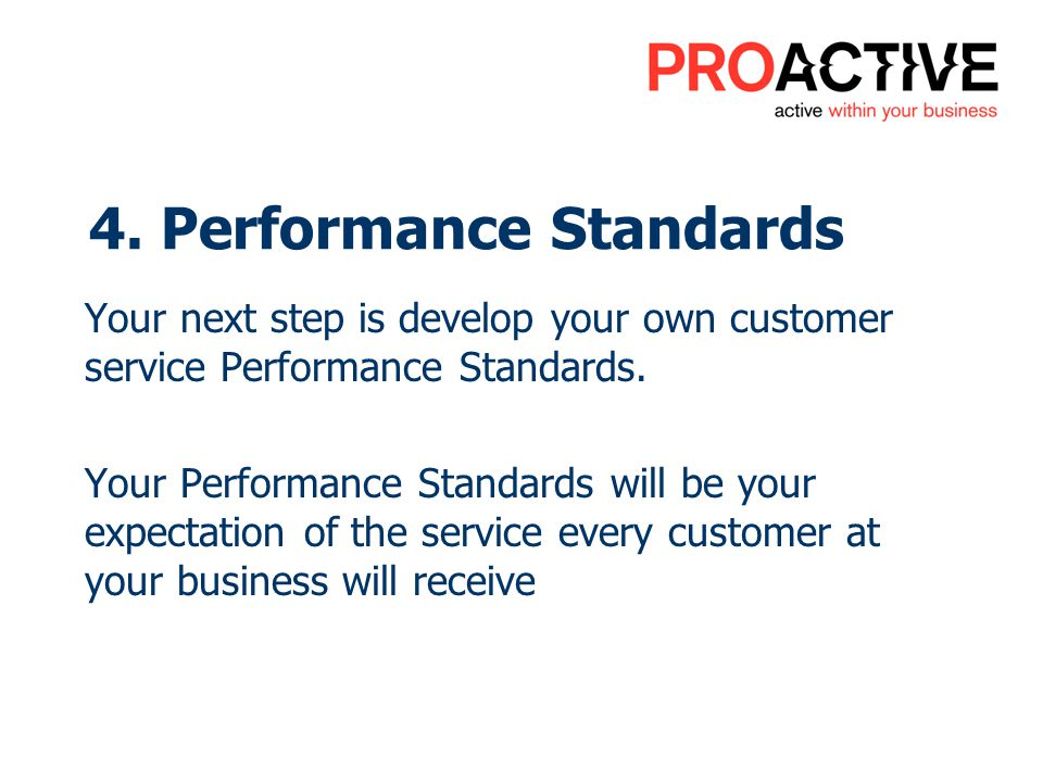 4. Performance Standards