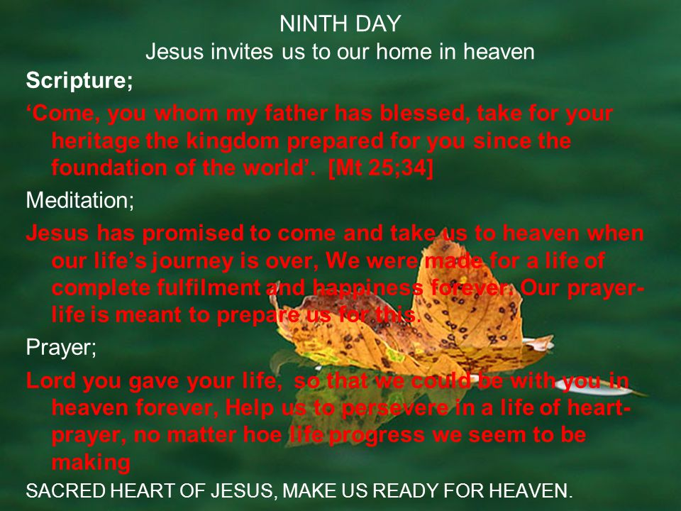 NINTH DAY Jesus invites us to our home in heaven