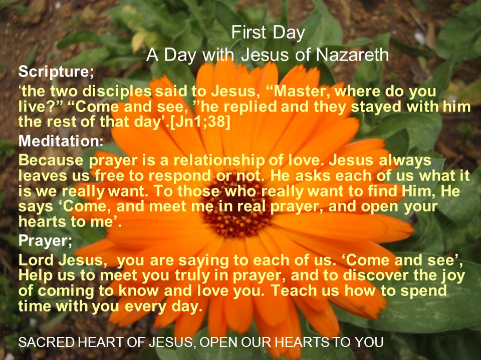 First Day A Day with Jesus of Nazareth