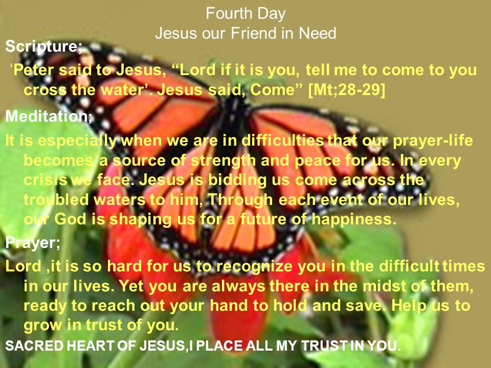 Fourth Day Jesus our Friend in Need