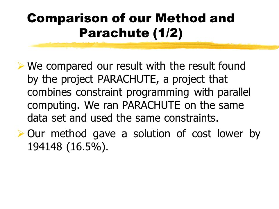 Comparison of our Method and Parachute (1/2)
