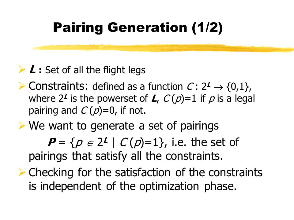 Pairing Generation (1/2)