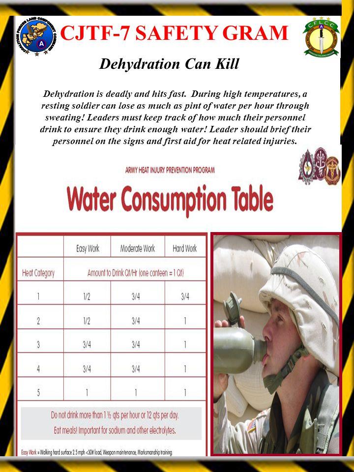 CJTF-7 SAFETY GRAM Dehydration Can Kill