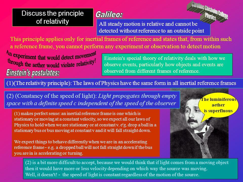 Discuss the principle of relativity