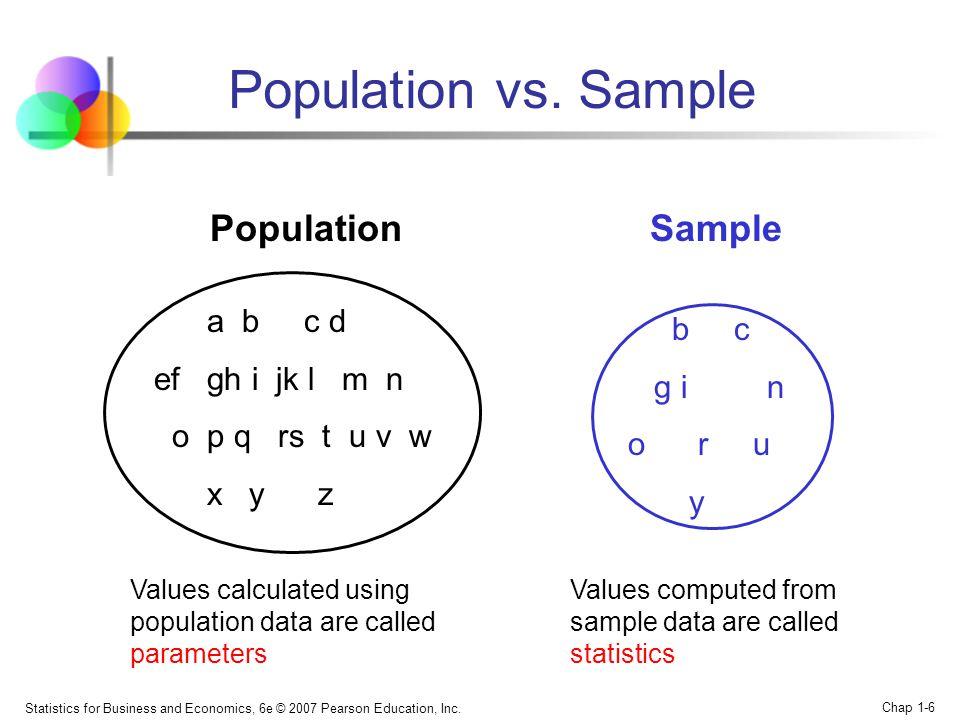 Population vs. Sample Population Sample a b c d b c ef gh i jk l m n