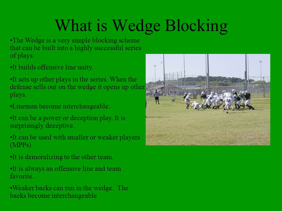 What is Wedge Blocking The Wedge is a very simple blocking scheme that can be built into a highly successful series of plays.