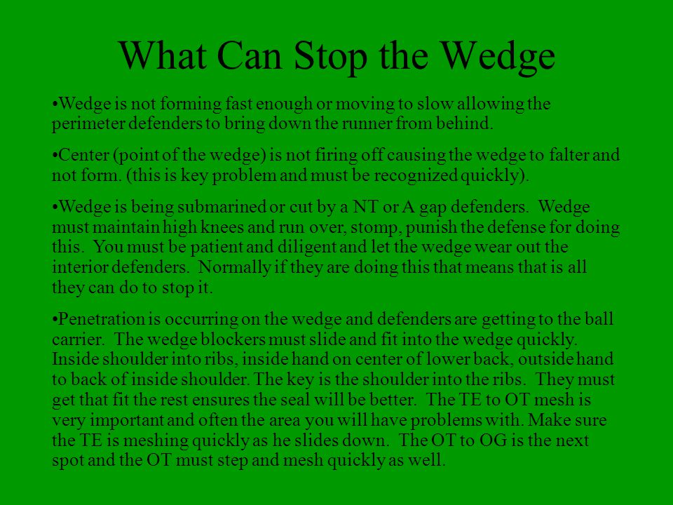 What Can Stop the Wedge Wedge is not forming fast enough or moving to slow allowing the perimeter defenders to bring down the runner from behind.