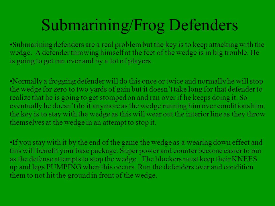 Submarining/Frog Defenders