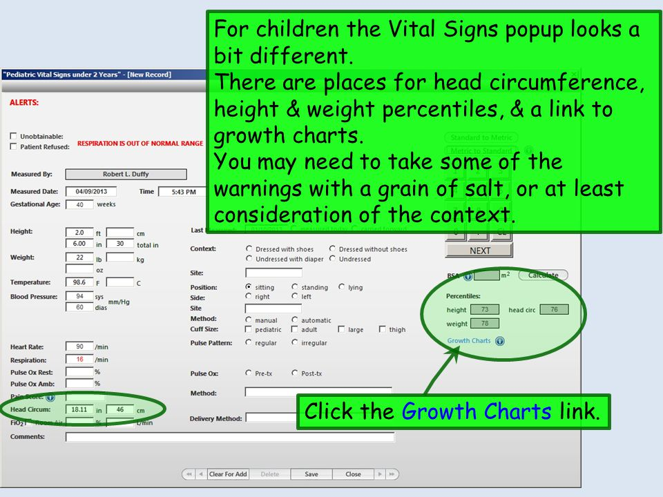 For children the Vital Signs popup looks a bit different.