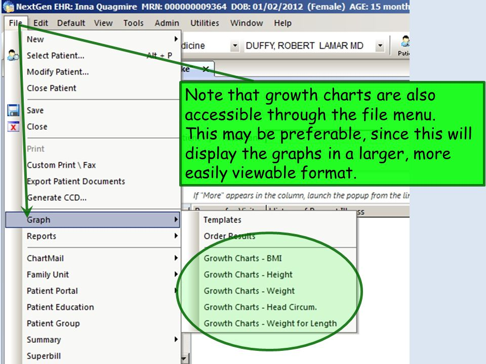 Note that growth charts are also accessible through the file menu.