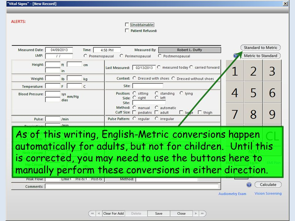 As of this writing, English-Metric conversions happen automatically for adults, but not for children.