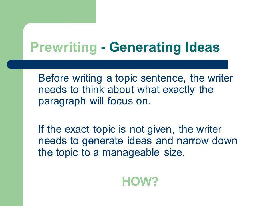 Prewriting - Generating Ideas