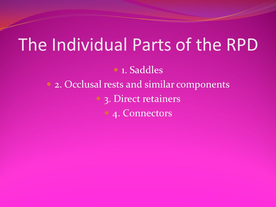 The Individual Parts of the RPD