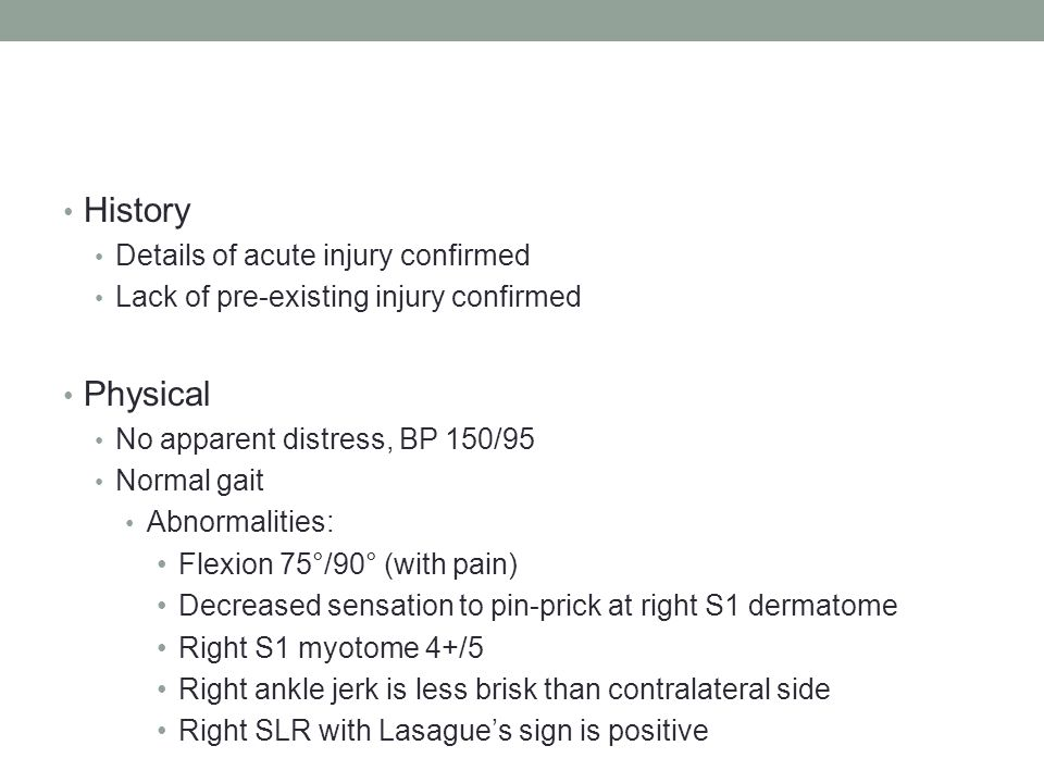 History Physical Details of acute injury confirmed